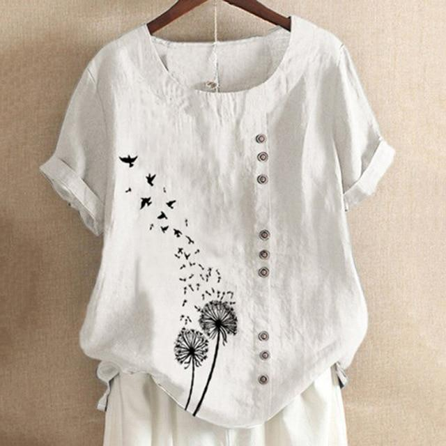 O-Neck Casual Short Sleeve Print Oversize Blouse