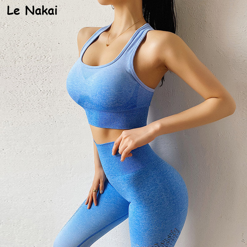 2pcs energy seamless yoga set tracksuit workout gym