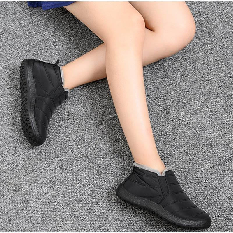 Warm Plush Fur Ankle Winter Female Slip On Flat Casual Shoes