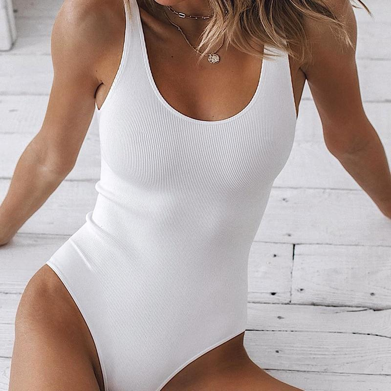 White Strappy Bodysuit Sexy Backless Ribbed Bodysuit