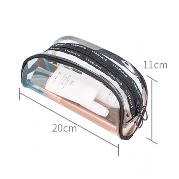 Transparent Cosmetic Bag Zipper Travel Make Up Case