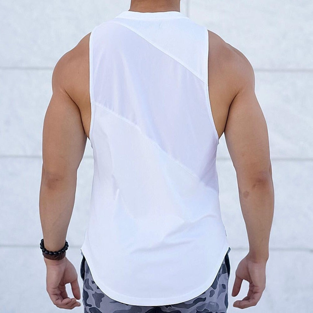 Sporty Tank Tops Men Gyms Fitness Workout Sleeveless Shirt Male