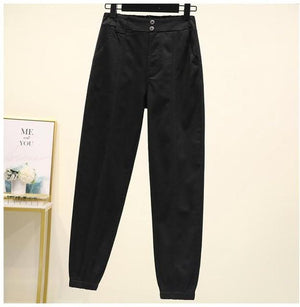 Cargo Pants High Waist Casual Loose Broadcloth Elastic Waist Ankle-length
