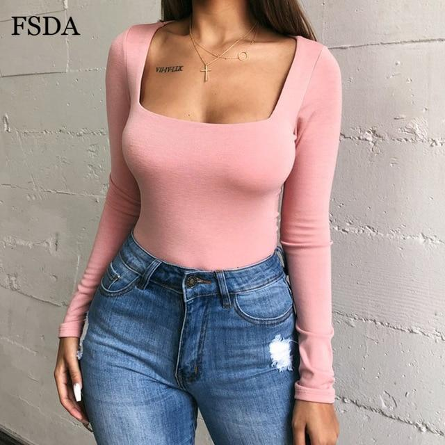 Long Sleeve Knitted Skinny Solid Square Collar Bodysuit