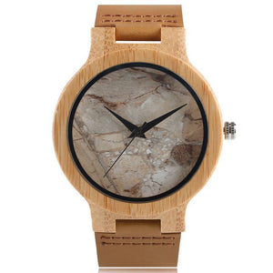 Minimalist Bamboo Watch Creative Marble Pattern Face Quartz Wristwatch Genuine Leather