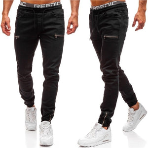 Skinny Biker Slim Fit Denim Men Multi-pocket zipper pencil Pants