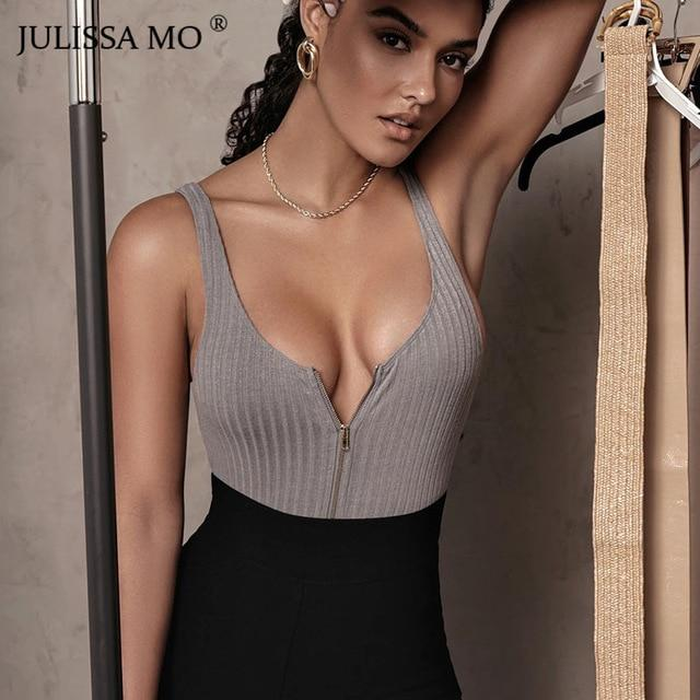 Ribbed Knitted Sexy Zipper Sleeveless Basic One-Piece Bodysuits
