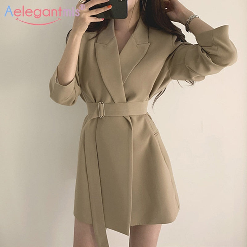 Long Blazers Jacket With Belt Notched Outerwear