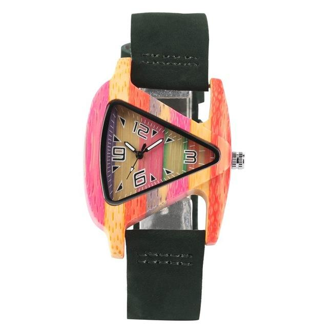 Unique Colorful Wood Creative Triangle Shape Dial Hour Clock Women Quartz