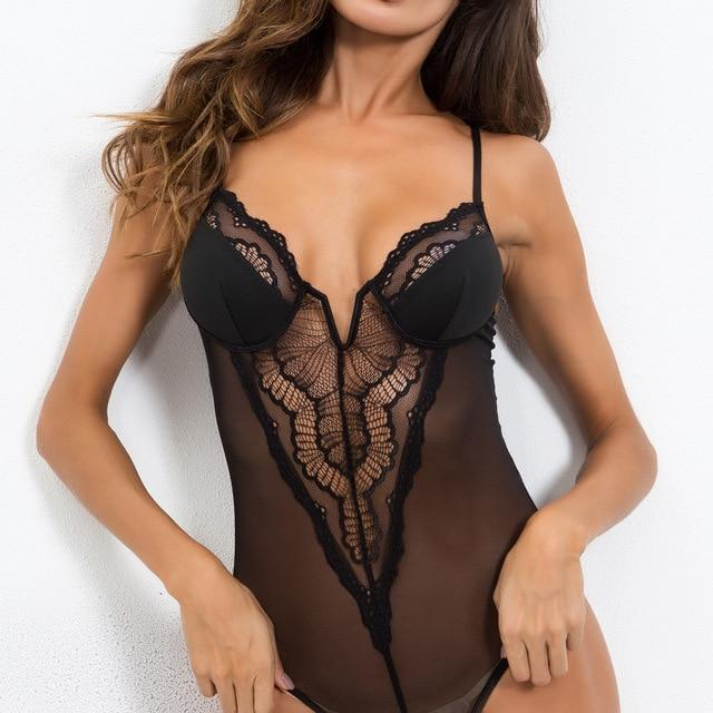 Deep V Neck Lace Mesh Bodysuit