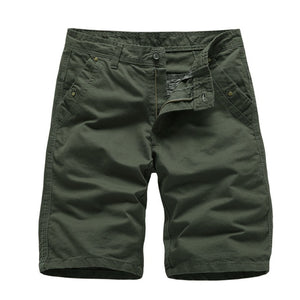 Cargo Shorts Summer Casual Cotton  Solid Color Knee Length