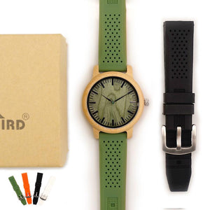 Bamboo Wooden Watch Men Quartz Watch with Green Silicone Strap Extra