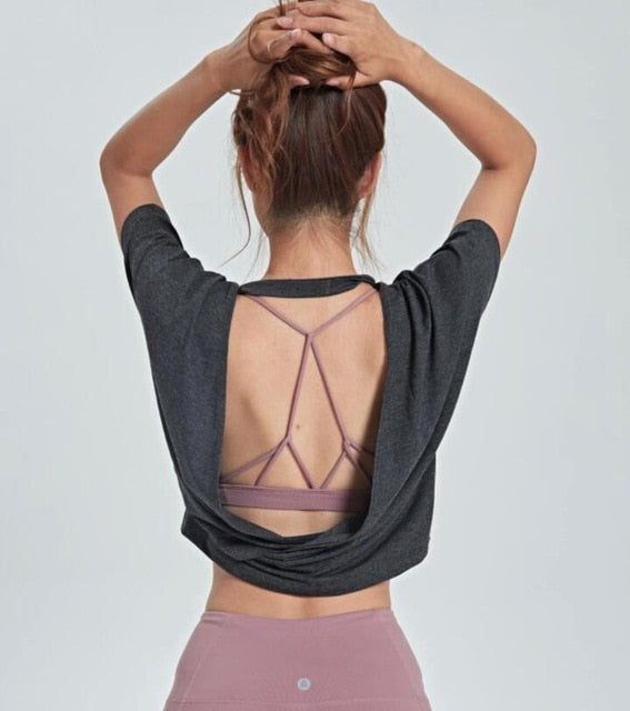 Open Back Sports Blouses Loose Breathable Tank Workout Tops