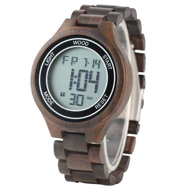 LED Digital Men's Watches Retro Ebony Wood Handmade Electronic Men Wristwatch