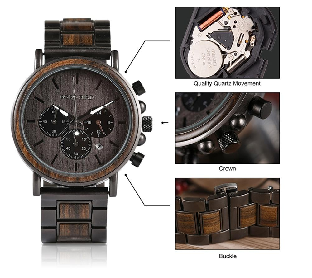 Wood Stainless Steel Men Watch Stylish Wooden Timepieces Chronograph Quartz
