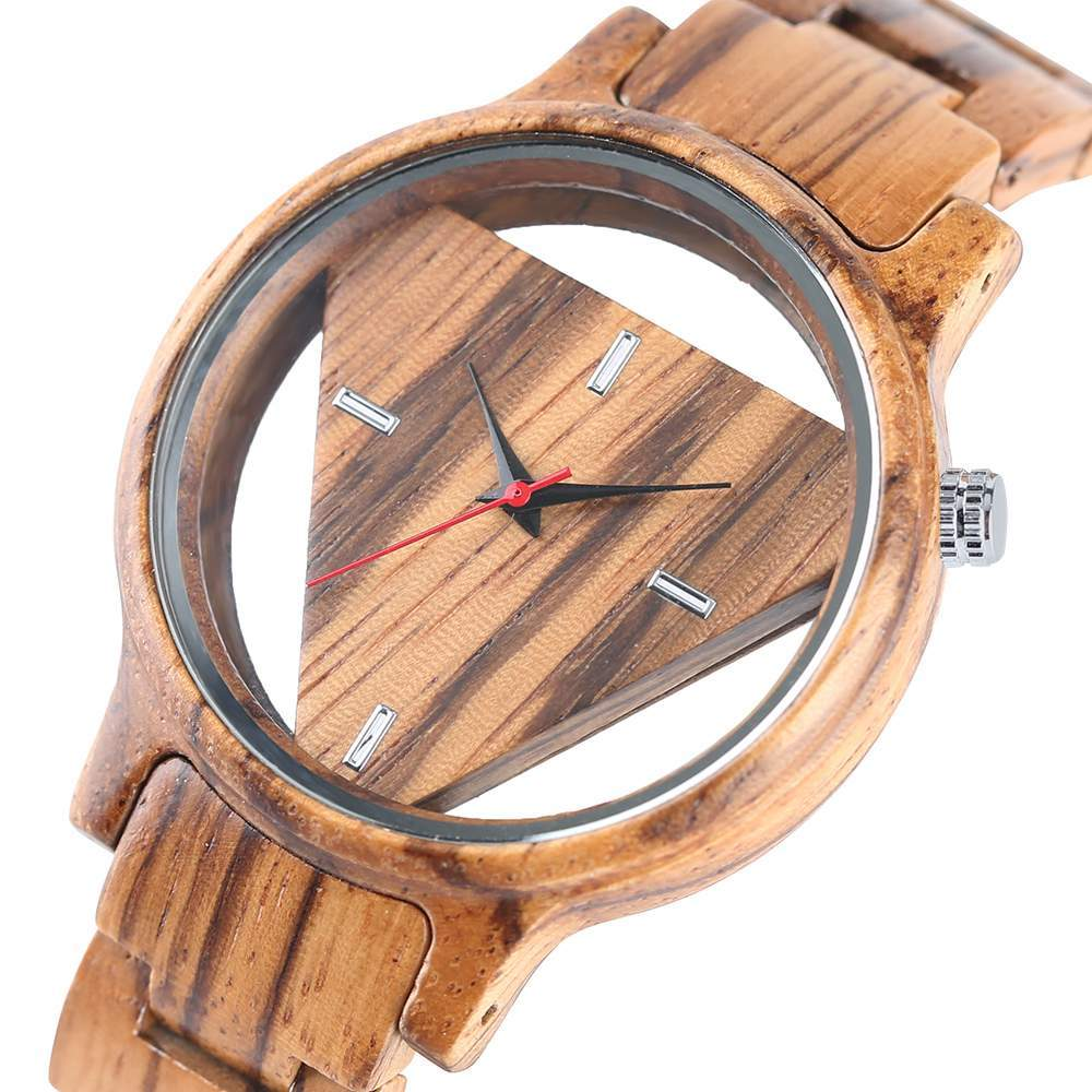Unique Inverted Geometric Triangle Wood Watch Men Women Creative