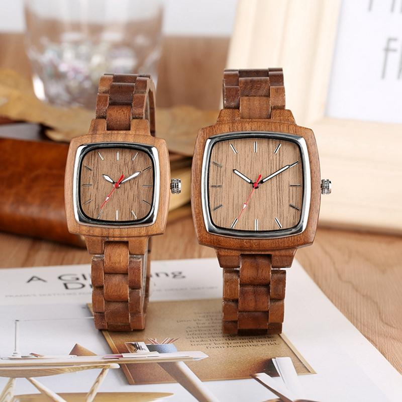Unique Walnut Wooden Watches for Lovers Couple