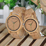 Lovers Watches Wooden Timepieces Handmade Cork Strap Bamboo