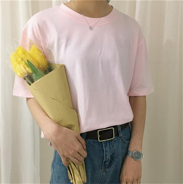 Solid Casual T Shirt Short Sleeve Loose Basic Tee Top