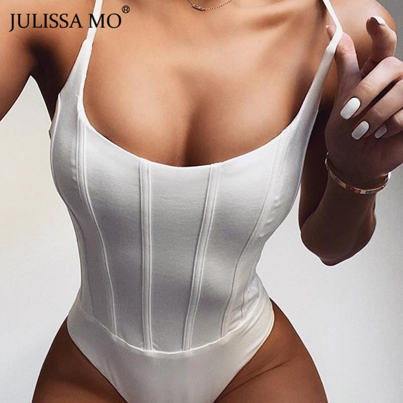 White Striped Sexy Backless Bodysuit Women Sleeveless Skinny