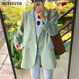 Chic Loose Light Green Blazer One Button Suit Jacket