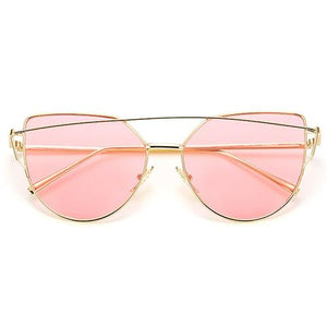 Mirror Cateye Vintage Metal Reflective Sunglasses