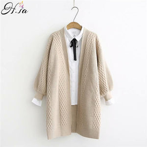 Lantern Sleeve Open Stitch Loose Sweater Jacket