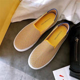 Women's Loafers flat Shoes Casual Black Ladies weaving