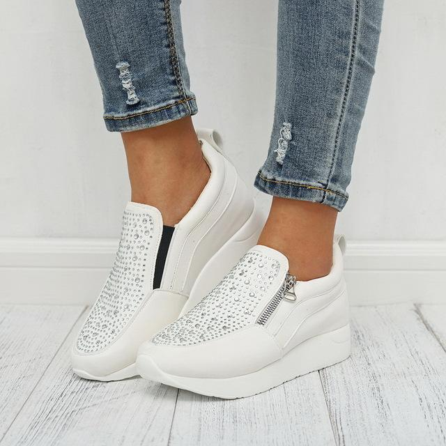 Crystal Sneakers Casual Zipper Flat Non-slip Breathable