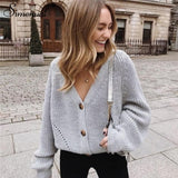 Casual Fashion Knitted Cardigans Long Sleeve Button V Neck Sweater