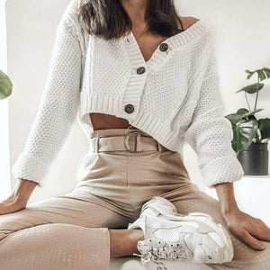 Knitted Cropped Cardigan Sweaters Female Short Coat