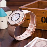 Fashion Stainless Steel Rose Gold & Silver Band Quartz