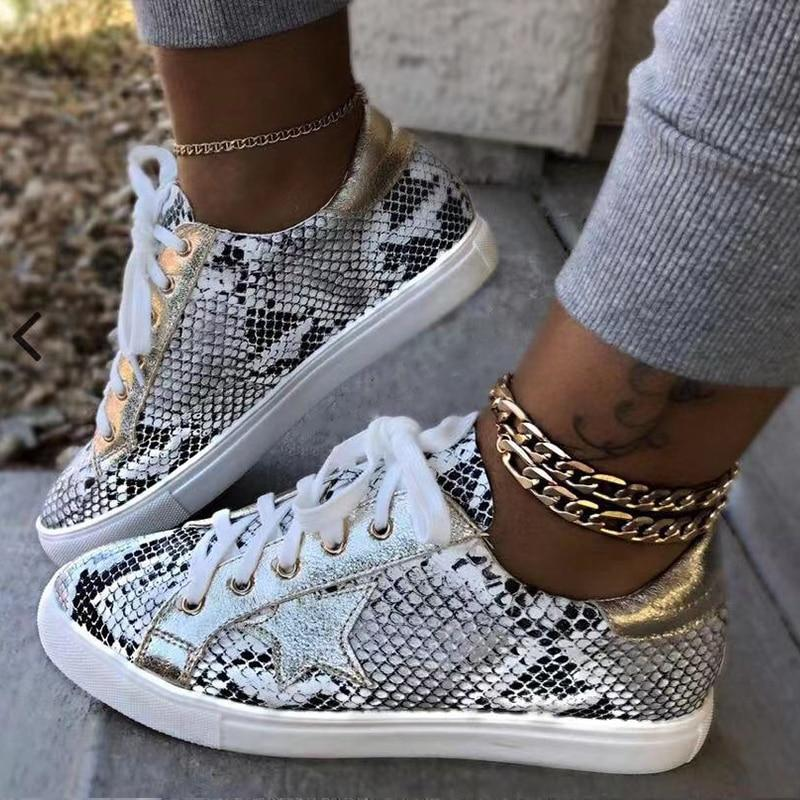 Women Snake Printing PU Leather Vulcanized Shoes