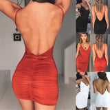 Summer Backless High Draped Slim Bandage Bodycon Mini Dress