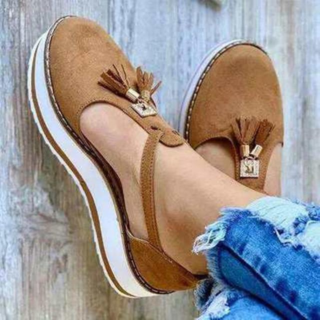 Summer Sandals Buckle Strap Solid Fringe Cover Heel Flat Platform