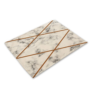 Pink Geometric Marble Printed Cotton Linen Kitchen Placemat