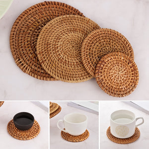 1PC Round Natural Rattan Coasters Bowl Pad Handmade Placemats