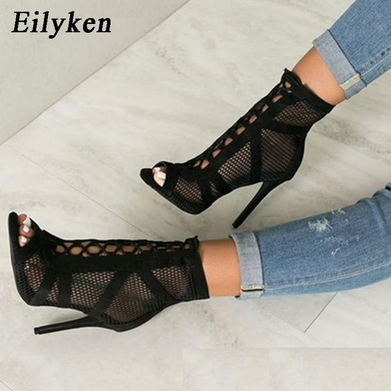 Fashion Black Sandals Lace Up Cross-tied Peep Toe High Heel Ankle Strap