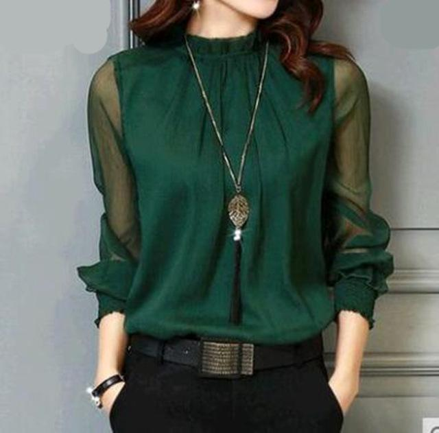 Chiffon Blouse  Long Sleeve Stand Neck Work Wear Shirts