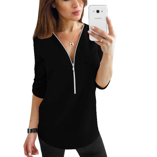 Zipper Short Sleeve Sexy V Neck Solid Casual Tee Shirts