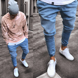 Stretchy Ripped Skinny Biker Jeans Destroyed Slim Fit Denim