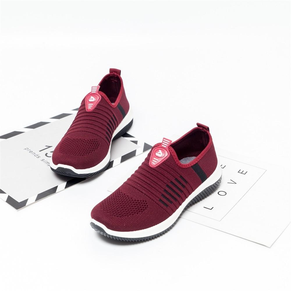 Flat Shoes Knit Casual Slip On Vulcanized Mesh Soft Breathable Sneaker