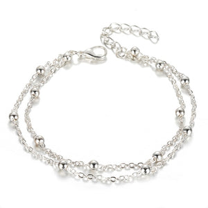 Simple Silver Color Bead Chain Anklet Bohemian Vintage