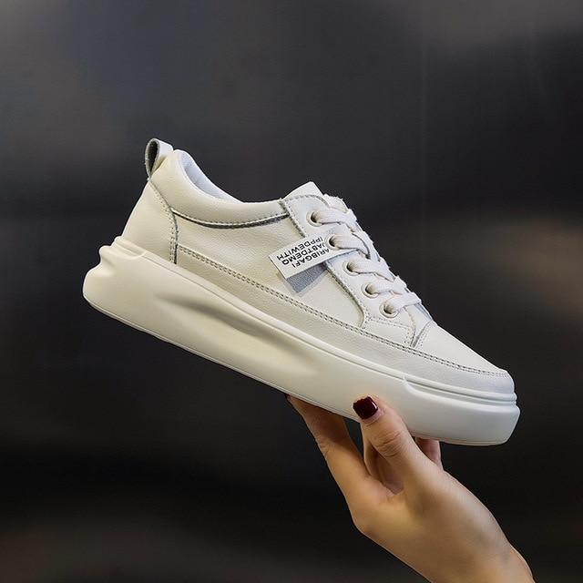 Genuine Leather Casual Shoes Sneakers  Light White Sneakers Platform