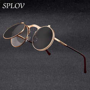 Vintage Steampunk Flip Sunglasses Retro Round Metal Frame Sun Glasses