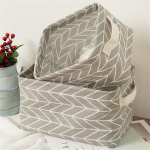 1 Pc Printing Cotton Linen Desktop Storage Organizer