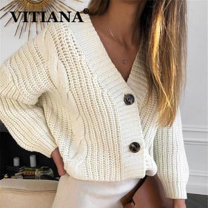 Knit Sweater Casual Long Sleeve Button Cardigan