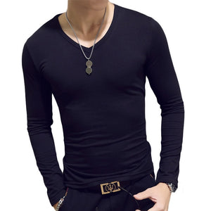 Long Sleeve Cultivate O-neck Solid Polyester T Shirt