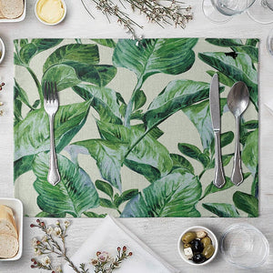 1 Pcs Placemat Table Mat Hand Painted Green Leaves