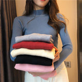 Winter Pullovers Long Sleeve Tops Turtleneck Knitted Sweater